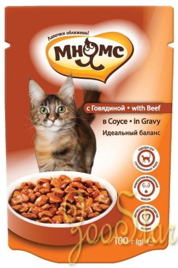 Мнямс влажный корм для кошек всех возрастов и пород, контроль веса, говядина 100 гр