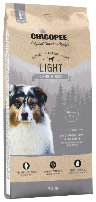 Chicopee корм для взрослых собак всех пород, контроль веса, ягненок и рис 15 кг