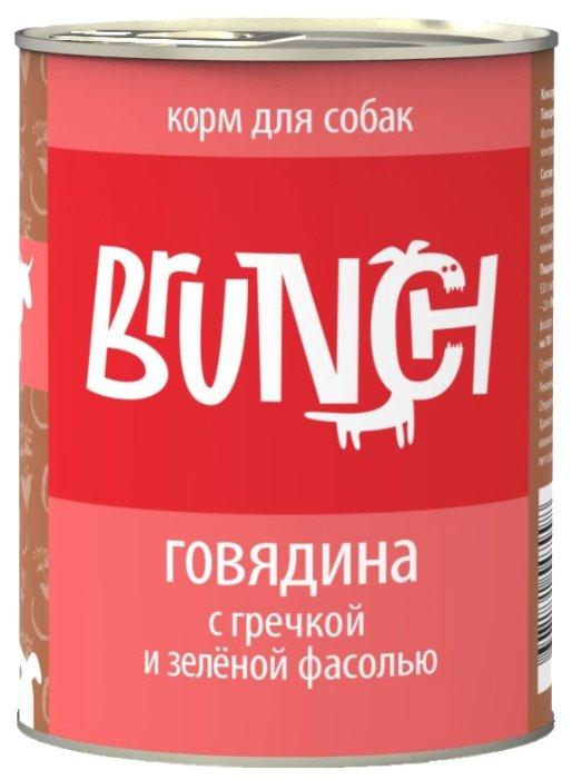 Brunch влажный корм для собак всех пород и возрастов, говядина с гречкой и зеленой фасолью 340 гр