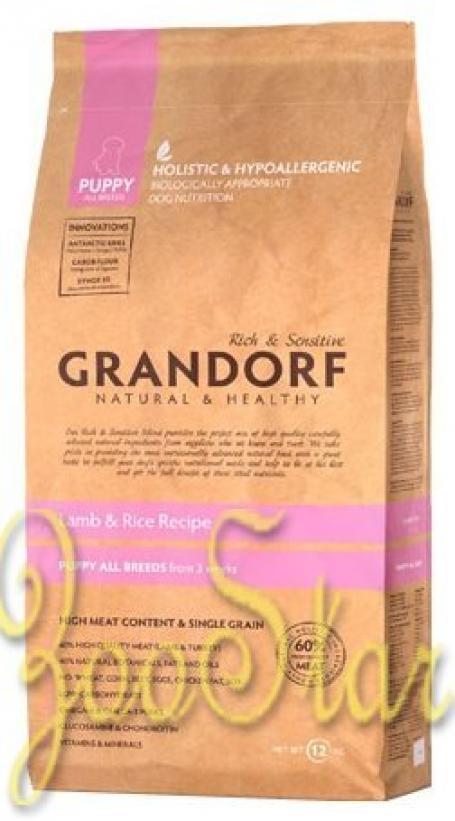 Grandorf Puppy корм для щенков всех пород, ягненок с бурым рисом 3 кг