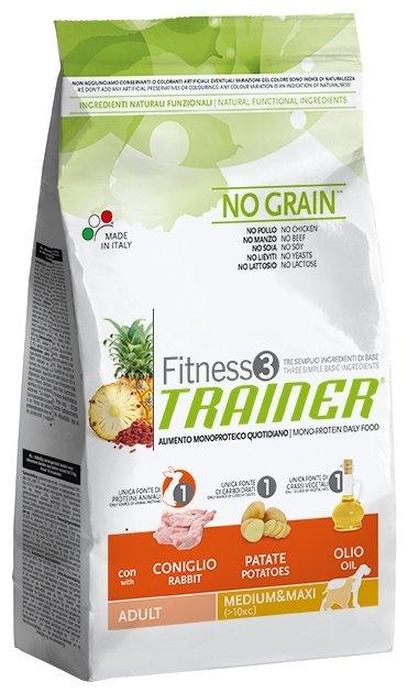 Trainer Fitness корм для взрослых собак средних и крупных пород, беззерновой, кролик и картофель 3 кг
