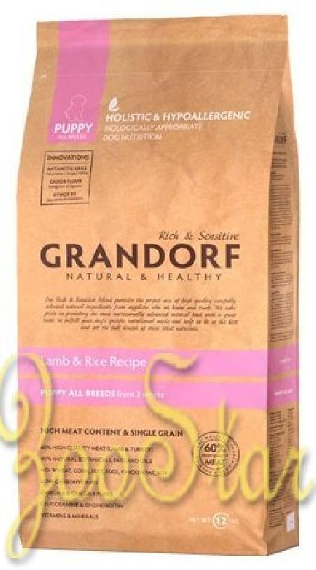 Grandorf Puppy корм для щенков всех пород, ягненок с бурым рисом 12 кг