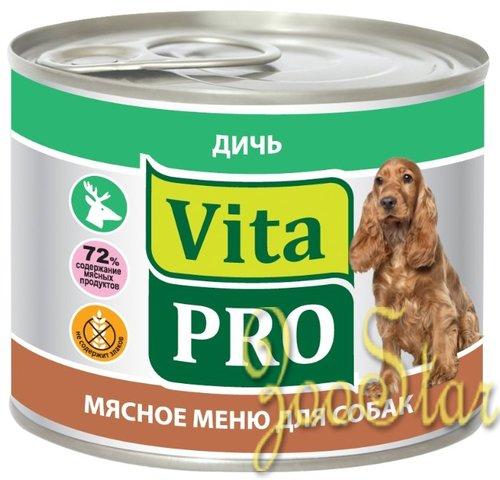 VitaPRO влажный корм для взрослых собак всех пород, дичь 200 гр