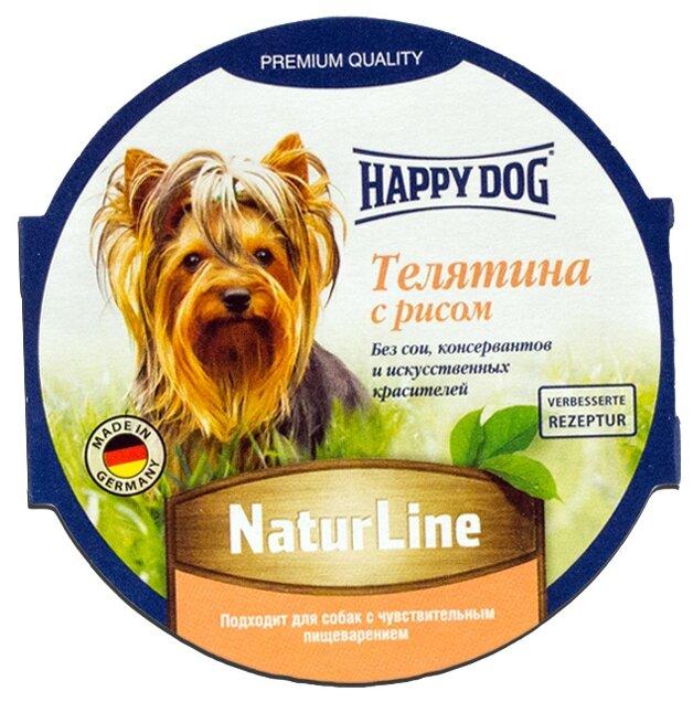 Happy Dog влажный корм для взрослых и пожилых собак всех пород, телятина и рис 85 гр