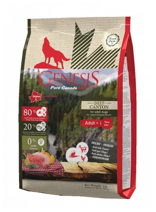 Genesis корм для взрослых собак всех пород, курица, ягненок и коза 907 гр