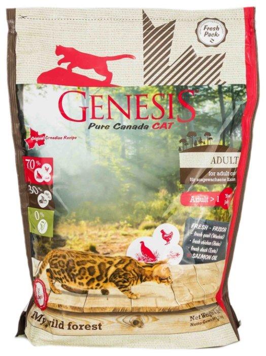 Genesis корм для взрослых кошек всех пород, утка, перепелка и курица 340 гр