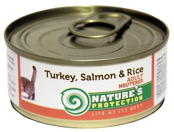 Nature's Protection влажный корм для стерилизованных кошек и кастрированных котов, индейка и лосось 100 гр