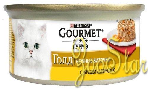 Gourmet Gold влажный корм для взрослых кошек всех пород, нежные биточки с курицей и морковью 85 гр
