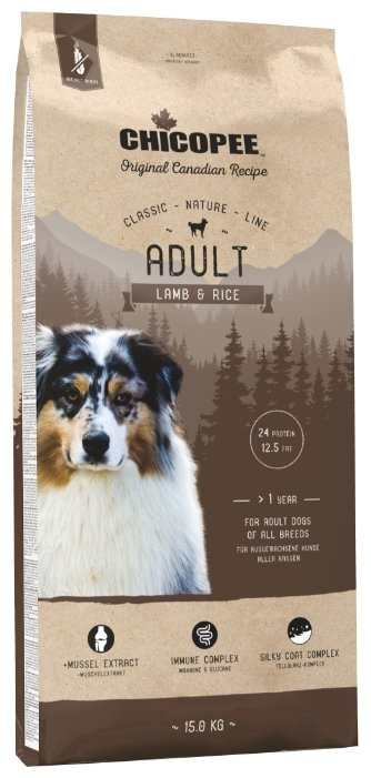 Chicopee корм для взрослых собак всех пород, ягненок и рис 15 кг