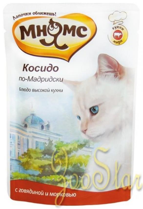Мнямс влажный корм для кошек всех возрастов и пород, говядина с морковью 85 гр