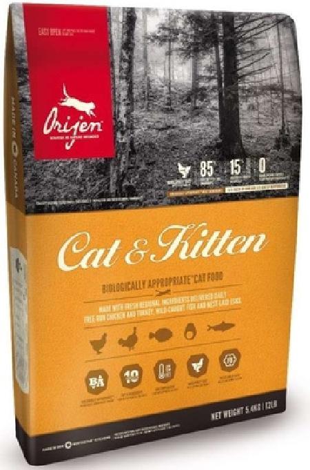 Orijen корм для взрослых кошек и котят всех пород, курица, лосось и индейка 5,4 кг