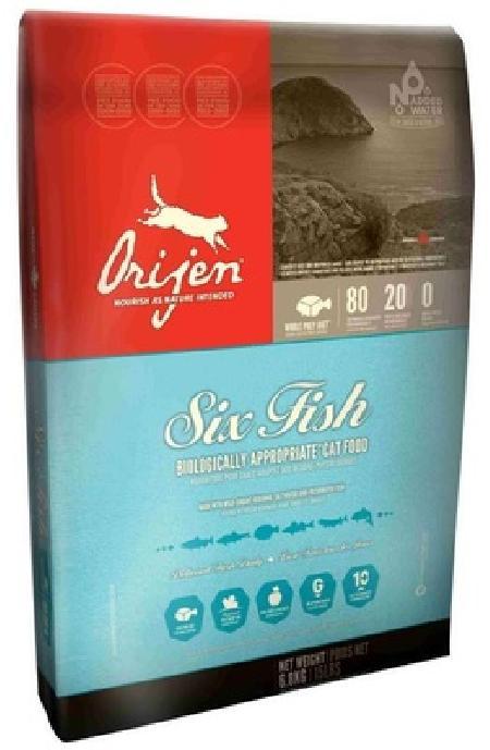 Orijen корм для взрослых кошек всех пород, 6 видов рыб 5,4 кг