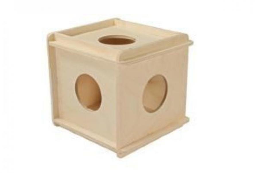 Redplastic Игрушка для грызунов кубик большой деревянный 12*12*h13,5 см., RP8522