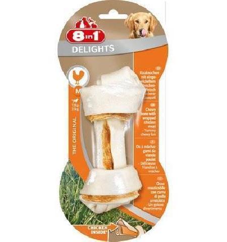 8 in 1 лакомство для взрослых собак средних и крупных пород, косточка с куриным мясом 70 гр