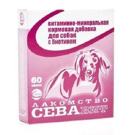 Ceva Севавит витаминно-минеральная кормовая добавка для собак с биотином 60таб 36181, 0,100 кг
