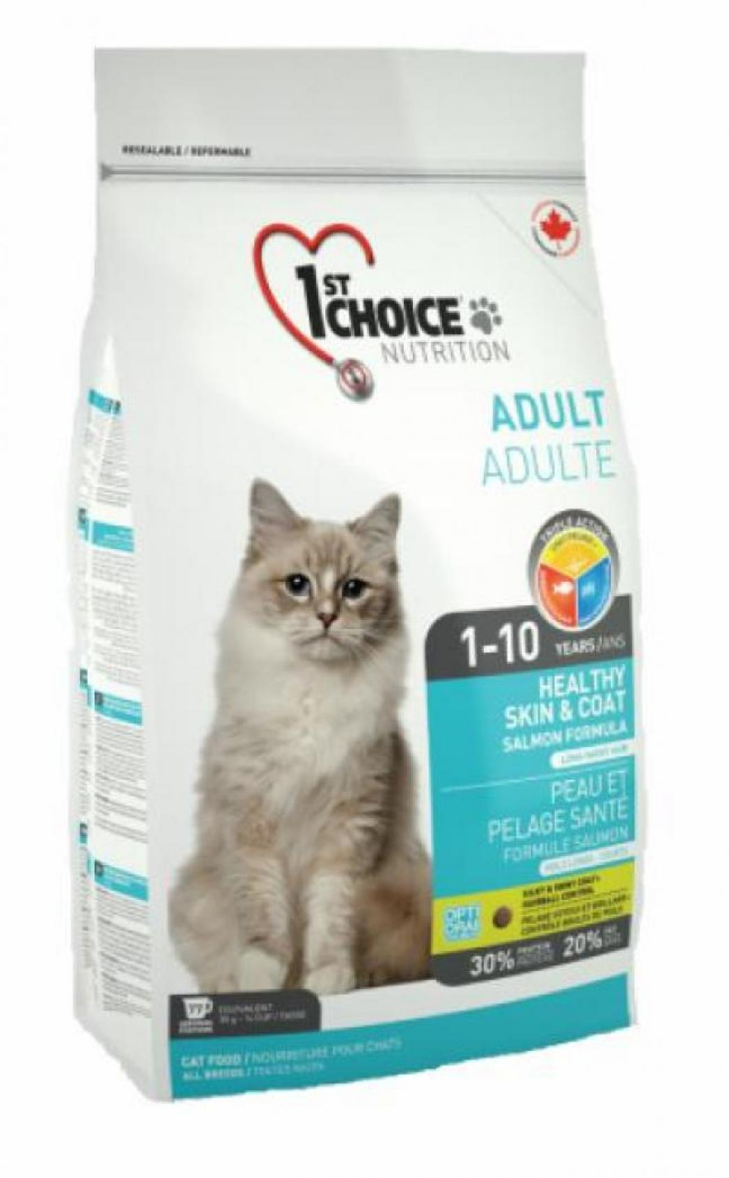 1st Choice корм для взрослых кошек всех пород, для кожи и шерсти, лосось 10 кг