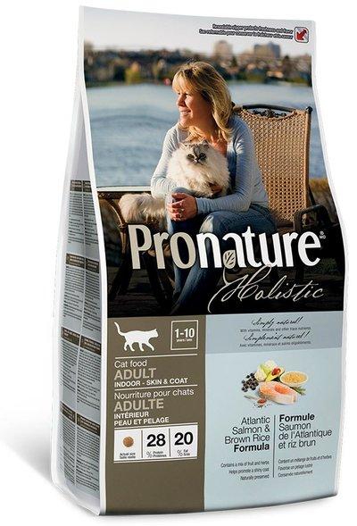 Pronature корм для взрослых кошек всех пород, живущих в помещении, лосось и коричневый рис 2,72 кг