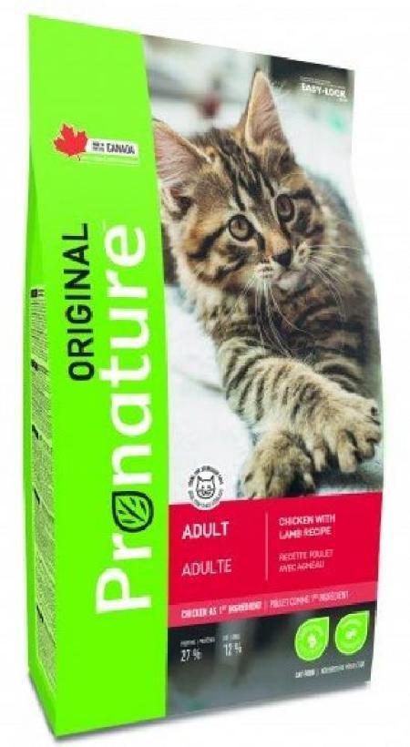 Pronature корм для взрослых кошек всех пород, курица и ягненок 340 гр