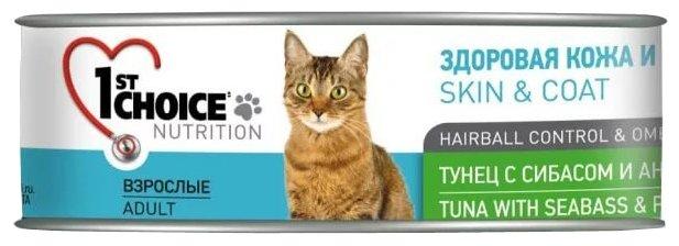 [102.6.004]  Консервы для кошек 1ST CHOICE ТУНЕЦ С СИБАСОМ И АНАНАСОМ 85г