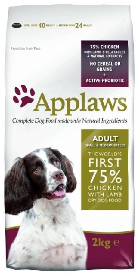 Applaws корм для взрослых собак малых и средних пород, беззерновой, курица и ягненок 2 кг