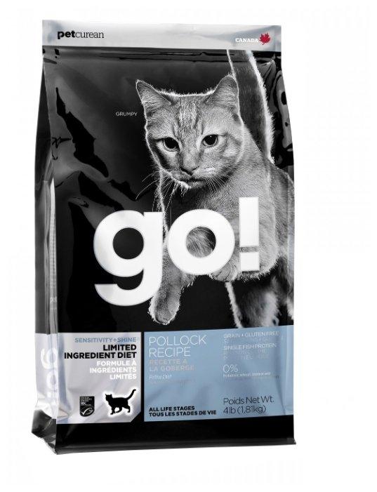 GO! ВИА Беззерновой для котят и кошек с чувств. пищеварением с минтаем (Sensitivity + Shine LID Grain Free Pollock Cat Recipe) 30/15, 1,81 кг, 20976