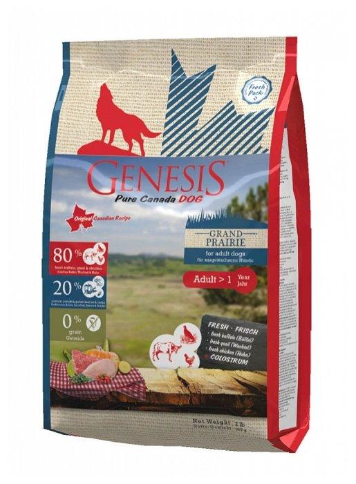 Genesis корм для взрослых собак всех пород, чувствительное пищеварение, курица, буйвол и перепелка 907 гр