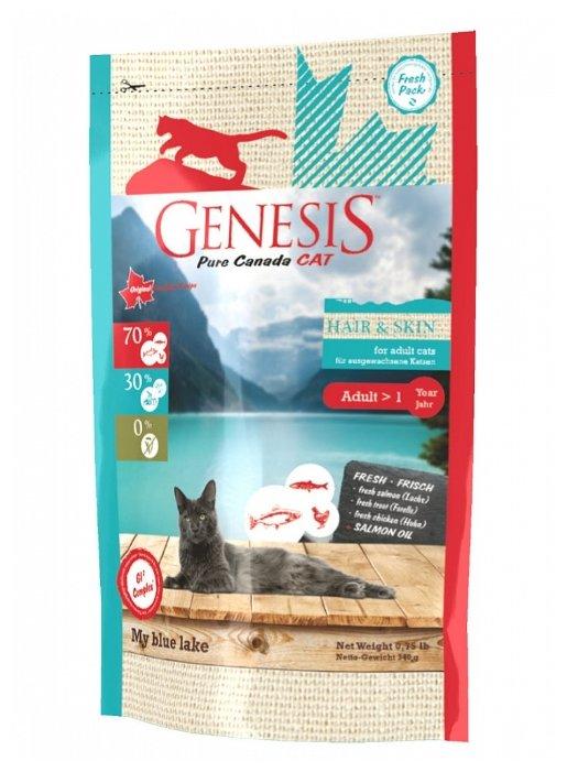 Genesis корм для взрослых кошек всех пород, идеальная кожа и шерсть, лосось, форель и курица 340 гр