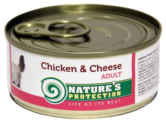 Nature's Protection влажный корм для взрослых кошек всех пород, курица и сыр 100 гр