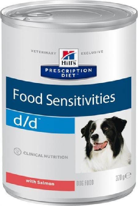 Hills d/d влажный корм для собак, при пищевых аллергий, острых панкреатитов, лосось 370 гр
