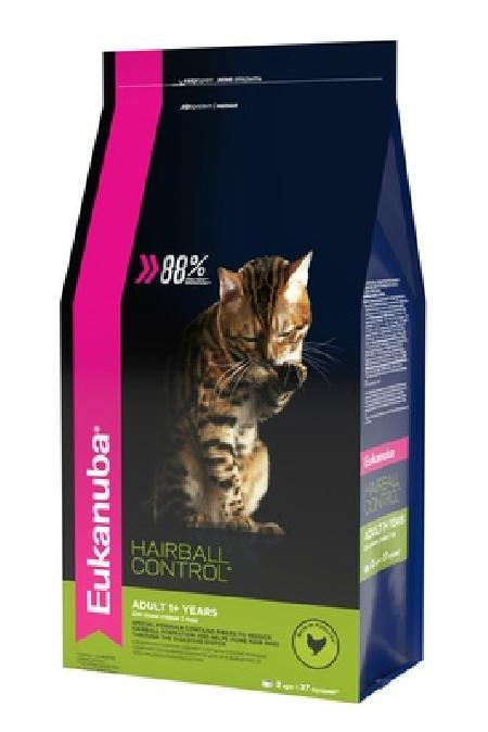 Eukanuba корм для взрослых домашних кошек всех пород, вывод шерсти, домашняя птица 2 кг