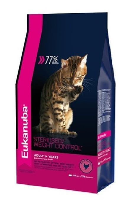 Eukanuba корм для взрослых кошек всех пород, контроль веса/стерилизованные, курица 10 кг