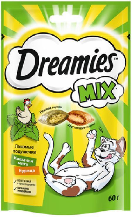 Dreamies Лакомые подушечки для кошек с курицей и мятой 10193273, 0,060 кг