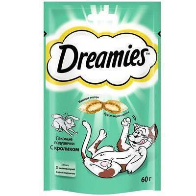 Dreamies лакомство для кошек, подушечки с кроликом 60 гр