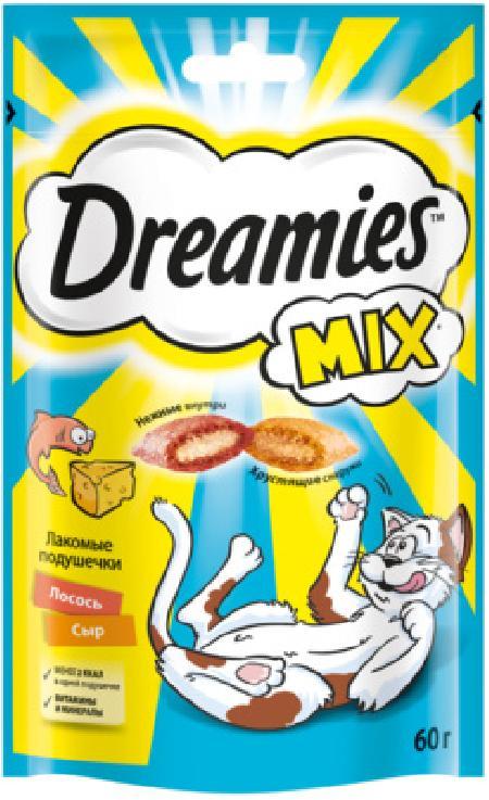 Dreamies Лакомство Dreamies MIX для взрослых кошек, с лососем и сыром, 60г 10222407 / 10236787, 0,060 кг