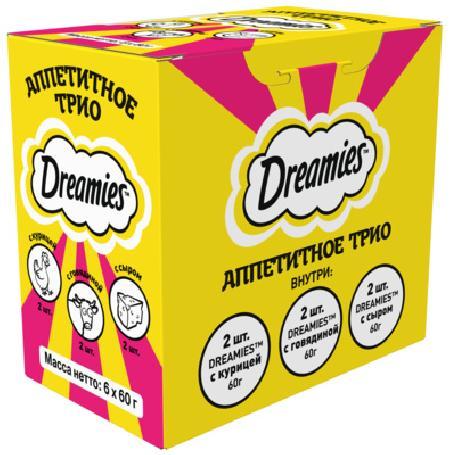 Dreamies Набор лакомств для кошек «Аппетитное трио»: курица (2 шт), говядина (2 шт), сыр (2 шт) 10240693, 0,360 кг