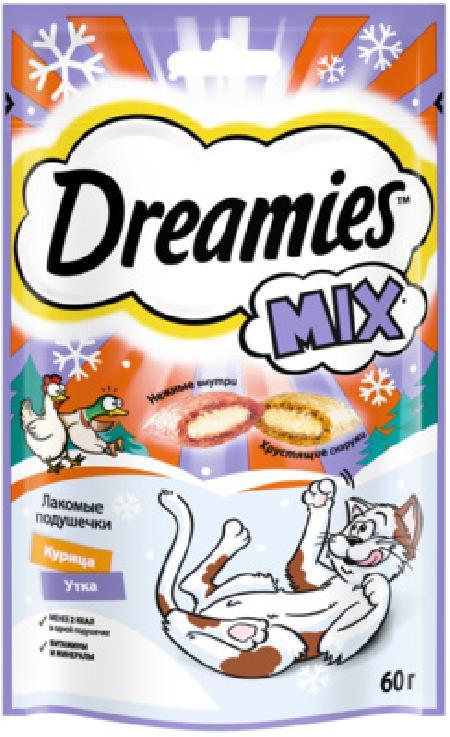 Dreamies Лакомство MIX для взрослых кошек, с курицей и уткой, 60г 10240398, 0,060 кг, 56073, 56073
