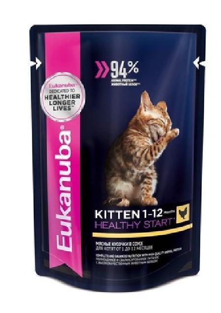 Eukanuba Паучи для котят с курицей в соусе (10150839), 0,085 кг