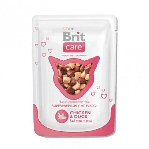 Brit Care влажный корм для взрослых кошек всех пород, курица с уткой 80 гр