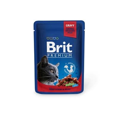 Brit Premium влажный корм для взрослых кошек всех пород, говядина и горошек 100 гр