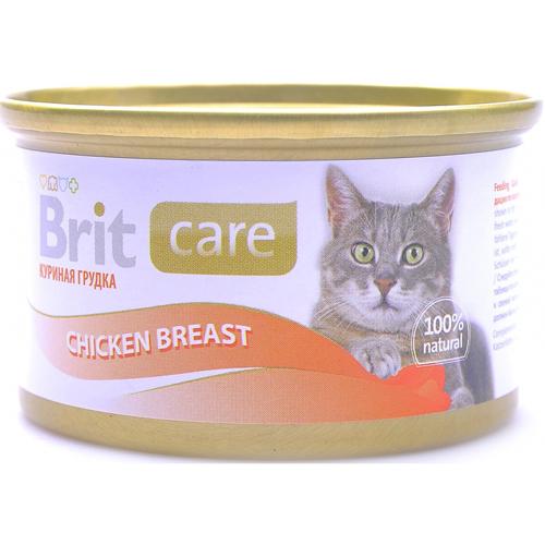 Brit Care влажный корм для взрослых кошек всех пород, куриная грудка 80 гр