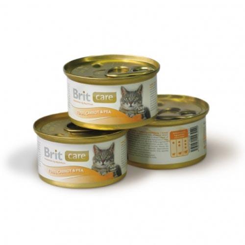 Brit Care влажный корм для взрослых кошек всех пород, тунец с морковью и горошком 80 гр