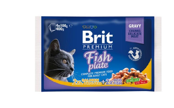 Brit Premium влажный корм для взрослых кошек всех пород, рыбная тарелка 400 гр