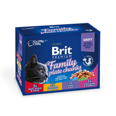 Brit Premium Family Plate влажный корм для взрослых кошек всех пород, набор паучей 12*100гр