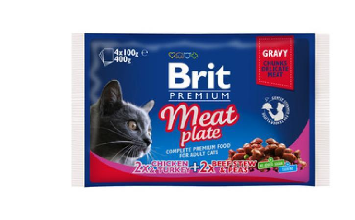 Brit Premium влажный корм для взрослых кошек всех пород, мясная тарелка 400 гр