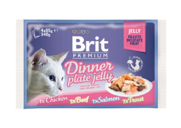 Brit Premium Dinner Plate Jelly влажный корм для кошек всех пород, набор паучей, кусочки в желе 4*85гр