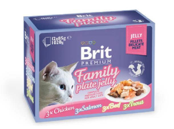 Brit Premium Family Plate Jelly влажный корм для взрослых кошек всех пород, набор паучей 12*85гр