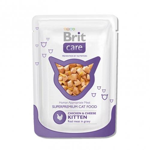 Brit Care влажный корм для котят всех пород, курица с сыром 80 гр