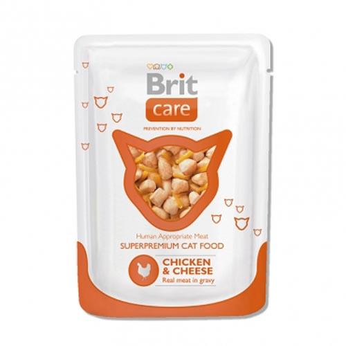Brit Care влажный корм для взрослых кошек всех пород, курица с сыром 80 гр