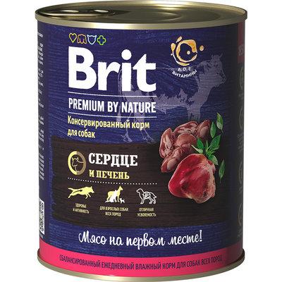 Brit Premium by Nature влажный корм для взрослых собак всех пород, сердце и печень 850 гр