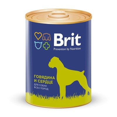 Brit влажный корм для взрослых собак всех пород, говядина и сердце 850 гр